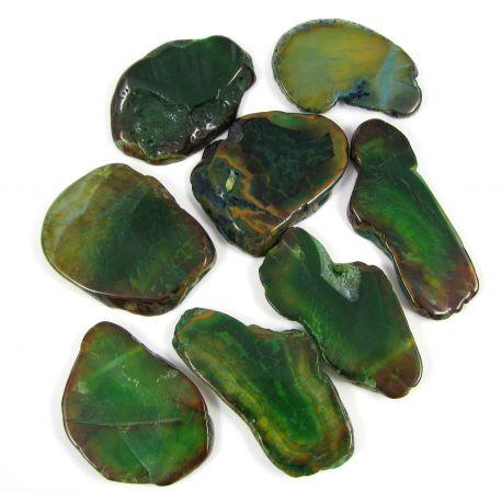 Agato karoliukai-pakabukai, žalios spalvos, netaisyklingos formos, 66x28 mm
