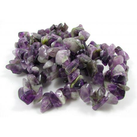 Ametisto skaldos gija, violetinės-baltos spalvos, dydis 20x12mm, gijos ilgis ~ 90 cm