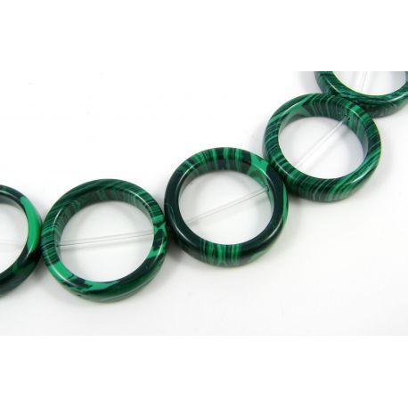 Sintetinio malachito karoliukai žalios spalvos su juodos spalvos juostelėmis, žiedo formos, 20 mm