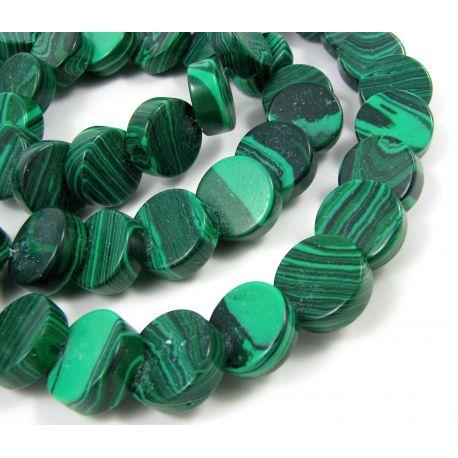 Sintetinio malachito karoliukai žalios spalvos su juodos spalvos juostelėmis, monetos formos, 20 mm