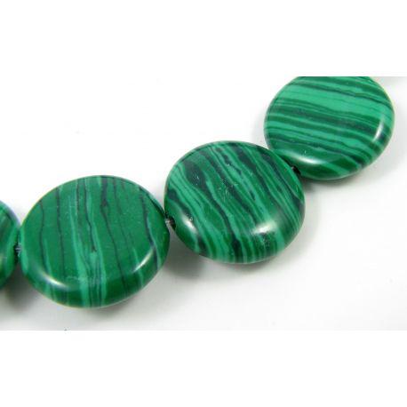 Sintetinio malachito karoliukai žalios spalvos monetos formos, 17 mm