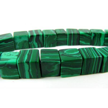 Sintetinio malachito karoliukai žalios spalvos su juodos spalvos juostelėmis, kvadrato formos, 8mm