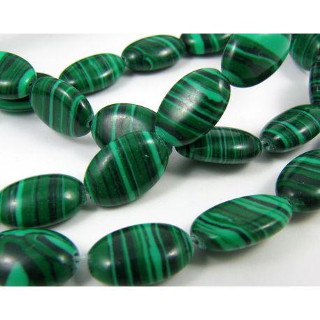 Sintetinio malachito karoliukai žalios spalvos su juodos spalvos juostelėmis, ovalo formos, 12x8 mm