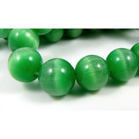 Katės akies karoliukai žalios spalvos apvalios formos 10 mm