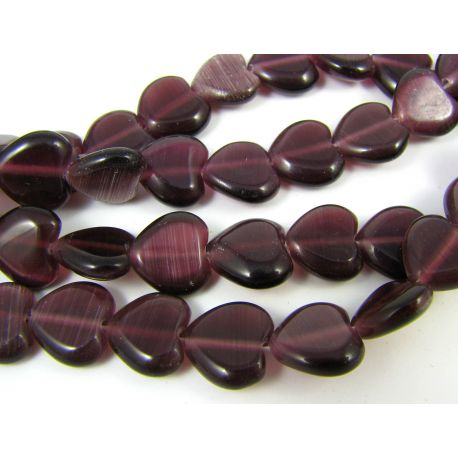 Beads of the cat's eye, purple, heart shape 12 mm