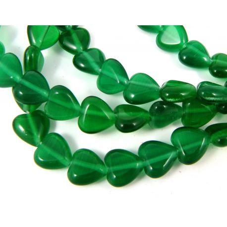Katės akies karoliukai, žalios spalvos, širdelės formos 8 mm