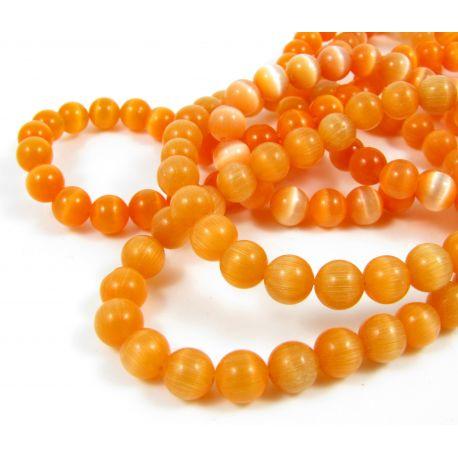 Katės akies karoliukai, oranžinės spalvos, apvalios formos 6 mm