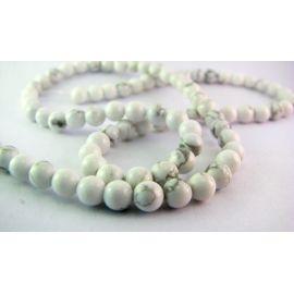 Houlito karoliukų gija baltos - pilkos spalvos apvalios formos 4mm