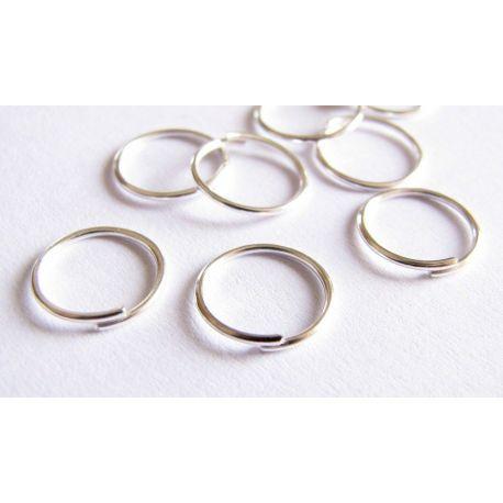 Viengubi žiedeliai skirti papuošalų gamybai, apyrankėms, auskarams, vėriniams, sidabro spalvos 10 mm