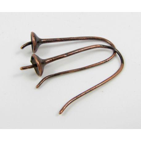 Kabliukai skirti auskarų gamybai, pusiau gręžties karoliukams, sendintos vario spalvos 27x11 mm
