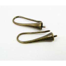 Žalvariniai kabliukai auskarams, 20x17 mm, 2 poros