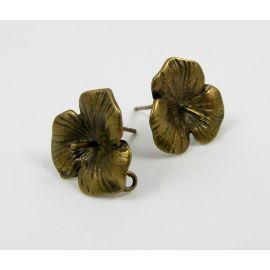 Žalvariniai kabliukai auskarams, 1 pora 18x16 mm