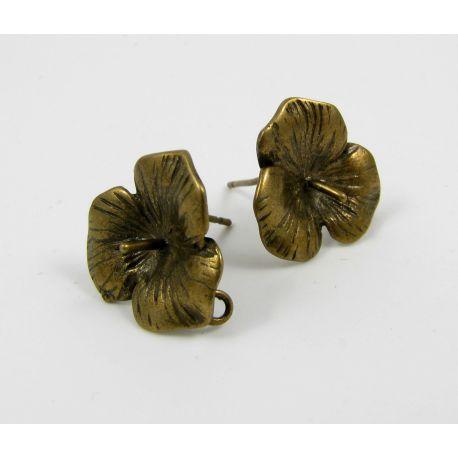 Kabliukai skirti auskarų gamybai, pusiau gręžties karoliukams, vinuko storis apie1 mm, bronzinės spalvos 18x16 mm