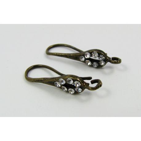 Kabliukai skirti auskarų gamybai, su baltos spalvos akutėmis, bronzinės spalvos 22x8 mm