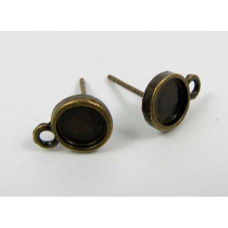 Kabliukai skirti auskarų gamybai, galima įklijuoti kabošoną 6 mm, sendintos bronzinės spalvos 13x8 mm