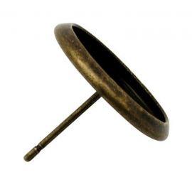 Kabliukai skirti auskarų gamybai, galima įklijuoti kabošoną 12 mm, sendintos bronzinės spalvos 14x12 mm