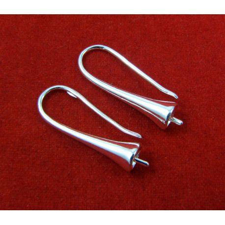 Žalvariniai kabliukai auskarams, sidabro spalvos, 20x17 mm dydžio