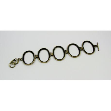 Ruošinys apyrankei. Tinka kabošonas ar kamėja 31x22 mm 5 vnt, sendintos bronzinės spalvos 18 cm ilgio