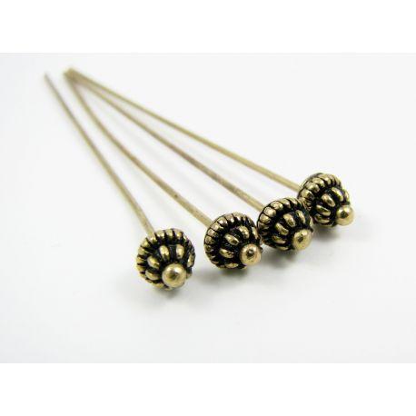 Dekoratyviniai smeigtukai skirti papuošalų gamybai, sendintos bronzinės spalvos, vinuko ilgis apie 53 mm, storis apie 0.8 mm