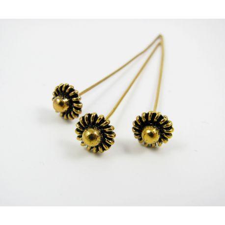 Dekoratyvinis smeigtukas, sendintos aukso spalvos, 50 mm ilgio, 0.8 mm storio