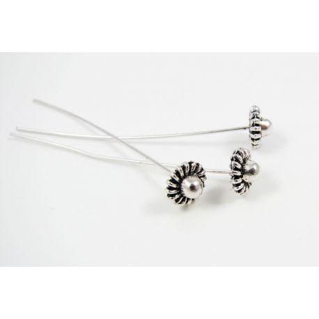 Dekoratyviniai smeigtukai skirti papuošalų gamybai, sendintos sidabro spalvos, vinuko ilgis apie 57 mm, storis apie 0.8 mm