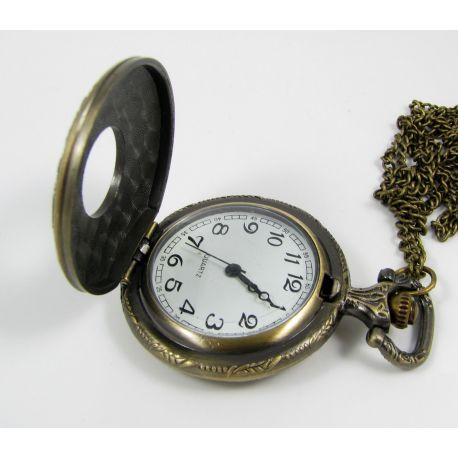 Mechaninis kišeninis laikrodukas su elementu, sendintos bronzinės spalvos su grandinėle, apie 49x37 mm dydžio