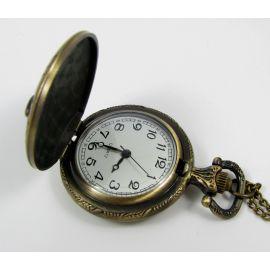 """Mechaninis kišeninis laikrodukas """"Pelėda"""" su elementu, sendintos bronzinės spalvos su grandinėle, apie 49x37 mm dydžio"""