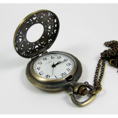 Mechaninis kišeninis laikrodis su elementu, sendintos bronzinės spalvos su grandinėle, apie 49x37 mm dydžio