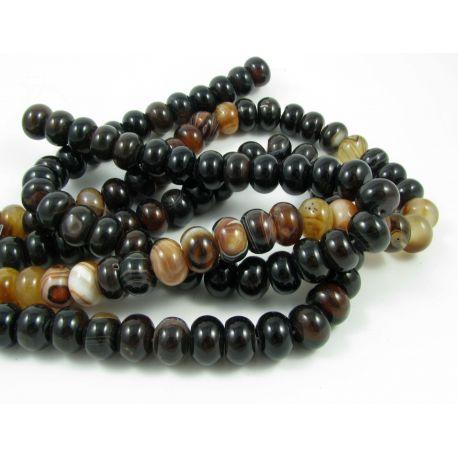 Agato karoliukai, juodos-tamsiai rudos - gelsvos spalvos, rondelės formos 14x10 mm
