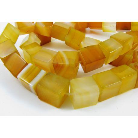 Agato karoliukai, geltonos spalvos, margi, kvadrato formos, dydis 10 mm