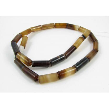 Agato karoliukų gija, rudai rusvos spalvos, margi, vamzdelio formos, dydis 16x6 mm