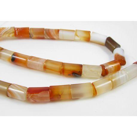 Agato karoliukai, gelsvos oranžinės baltos spalvos, margi, vamzdelio formos, dydis 12x8 mm