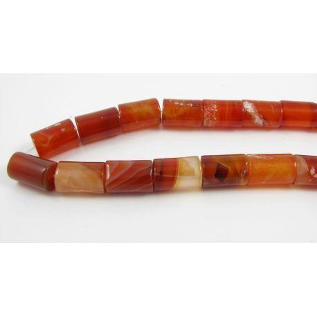 Agato karoliukai, oranžinės spalvos, margi, vamzdelio formos, dydis 12x8 mm