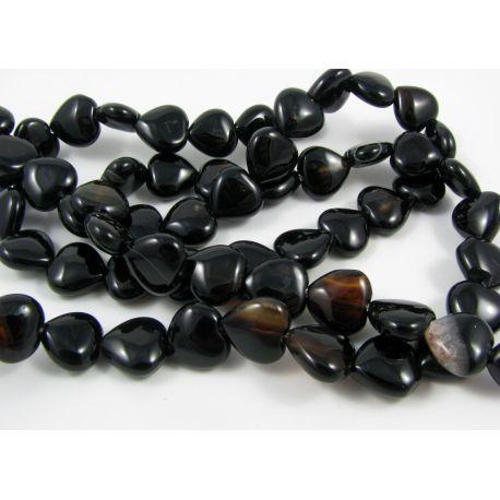Agato karoliukai, juodos - rudos spalvos, širdelės formos 12 mm