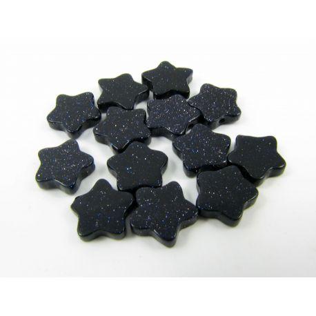 Kairo nakties karoliukai tamsiai mėlynos spalvos, blizgūs, žvaigždutės formos 10 mm