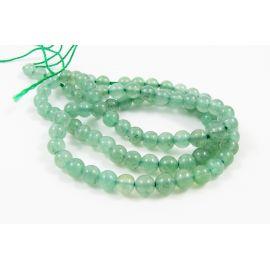 Avantiurino karoliukų gija, šviesiai žalios spalvos, apvalios formos 4 mm. Tinka vėriniams verti.