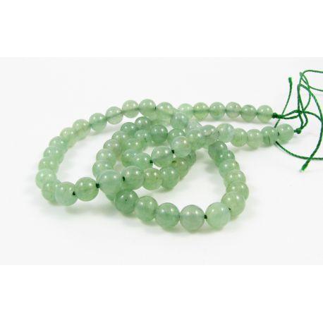 Avantiurino karoliukų gija, šviesiai žalios spalvos, apvalios formos 6 mm