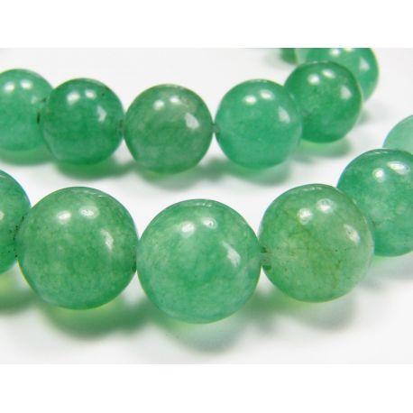 Avantiurino karoliukų gija, šviesiai žalios spalvos, apvalios formos 8 mm. Tinka vėriniams verti.