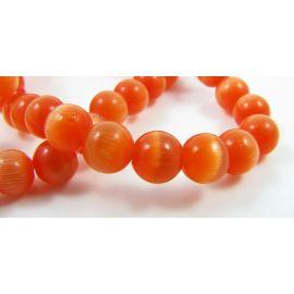 Katės akies karoliukai, ryškiai oranžinės spalvos, apvalios formos 6 mm