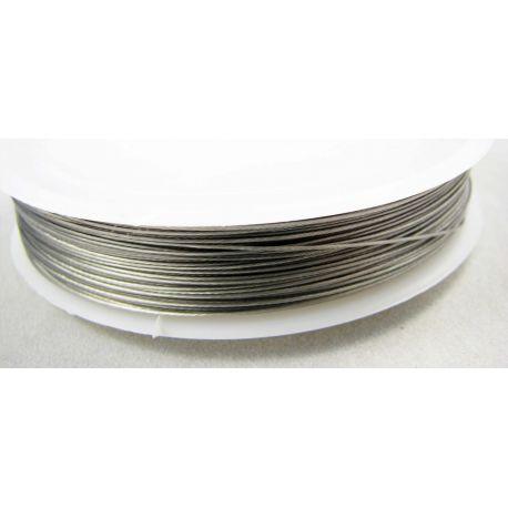Troselis skirtas vėrti: karoliukus, perlus, akmenis, tamsios sidabro spalvos, 0.60 mm storio , ritėje ~22 metrai