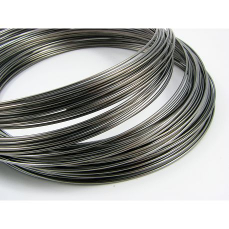 Wire with memory for necklace, black, 115 mm- 1.00 mm, 10 rings