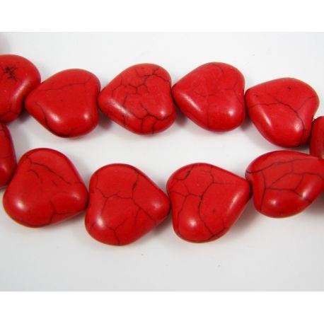 Sintetinio turkio karoliukai, ryšliai raudonos spalvos, šidelės formos 17 mm