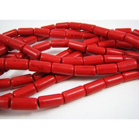 Sintetinio turkio karoliukų gija, ryšliai raudonos spalvos, vamzdelio formos, dydis 13x6 mm