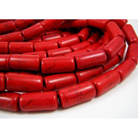 Sintetinio turkio karoliukų gija, ryšliai raudonos spalvos, vamzdelio formos, dydis 16x8 mm