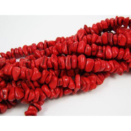 Sintetinio turkio skaldos gija, ryškiai raudonos spalvos, dydis 6-10x4-6 mm