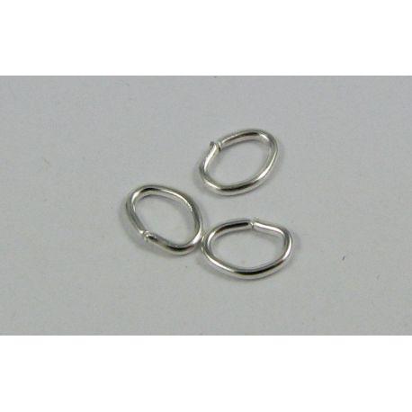 Ovalūs žiedeliai skirti papuošalų,rankdarbių gamybai, sidabro spalvos 5x4 mm 10 vnt.