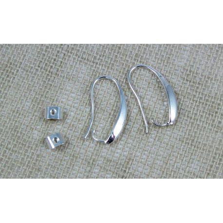 Kabliukai skirti auskarų gamybai, sidabro spalvos pasidabruoti, dydis 18x14 mm 1 pora