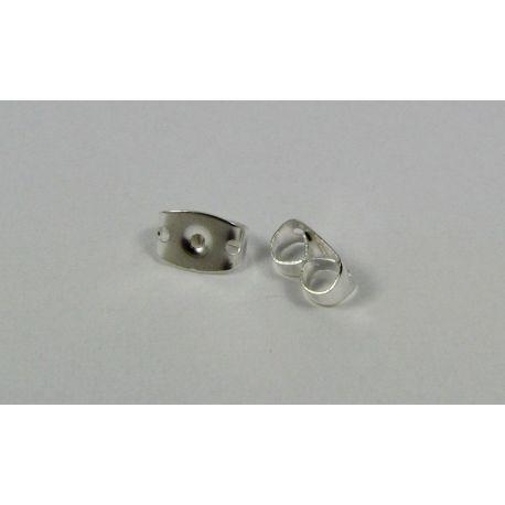 Metalinis auskarų fiksatorius skirtas papuošalų gamybai, sidabro spalvos 6 mm