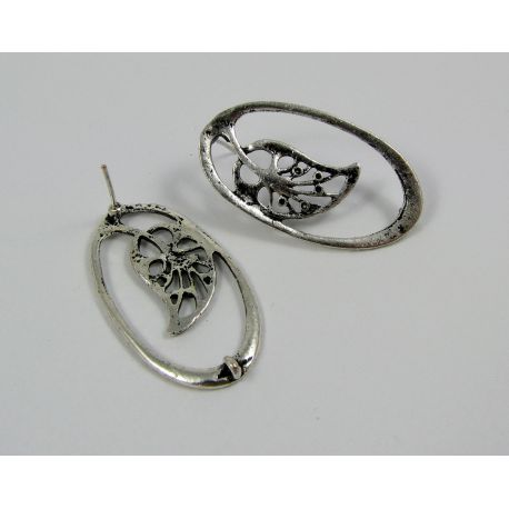 "Earrings ""Leaf"", aged silver, 34x19 mm size 1 pair"