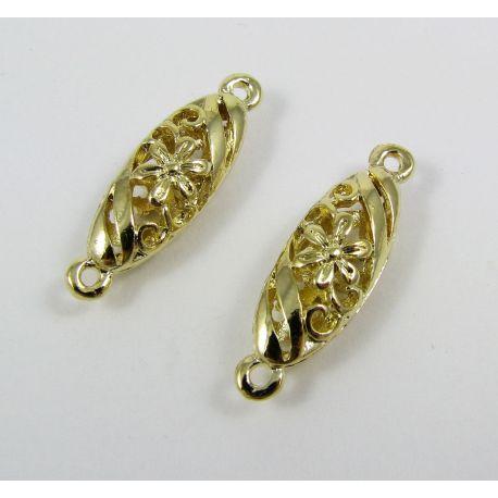 Paskirstytojas skirtas kaklo vėriniams, apyrankėms, rankdarbiams. Aukso spalvos, 9 kilpų, 30x9 mm dydžio